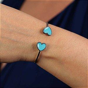 Bracelete de coração esmaltado semijoia resinada