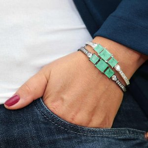 Bracelete pedra Turmalina Fusion semijoia de luxo