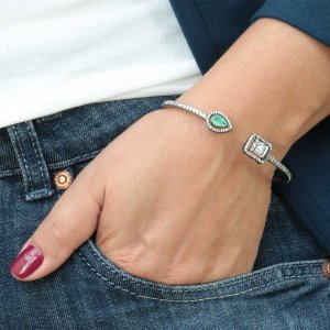 Bracelete zircônia fusion banhado em ródio negro