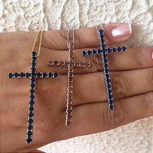 Colar crucifixo zircônia semijoia