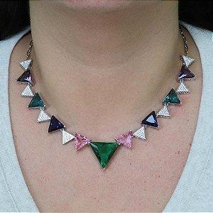 Colar Gargantilha da moda Triângulos Coloridos
