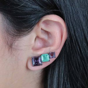 Brinco ear cuff com zircônia fusion quadrada