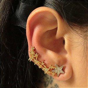 Brinco Ear Cuff estrelas com detalhes em ródio