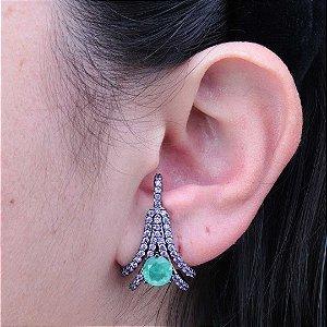Brinco ear hook luxuoso cravejado em zircônia