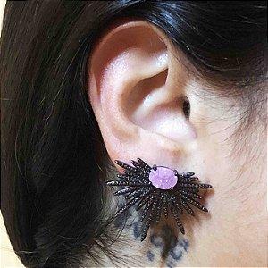 Brinco ear jacket zircônia ice rosa semijoia