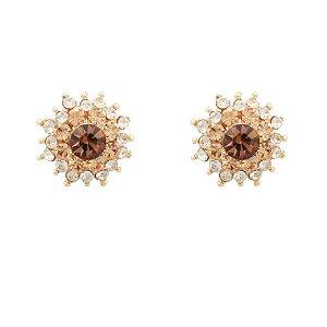 Brinco flor cristal austríaco semijoia