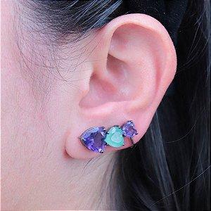 Ear cuff corações em Turmalina Fusion e Ametista