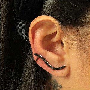 Ear Cuff delicado zircônia Ônix banhado em ródio negro