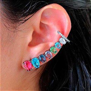 Ear cuff divo com piercing zircônia colorida