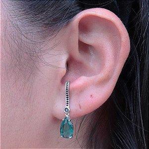 Ear Hook gota Turmalina cravejado em zircônia ônix