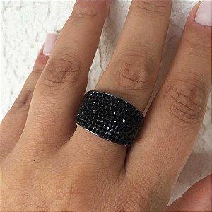 Anel luxo flexível cristais semijoia ródio negro