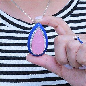 Colar esmaltado em azul gota turmalina rosa fusion