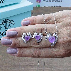 Conjunto coração pedra da moda Ultra Violeta Fusion