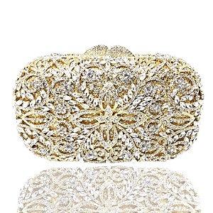 Clutch festa luxo em metal e cristais dourado com alça