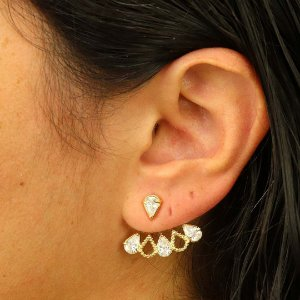 Brinco Ear Jacket gota zircônia cristal
