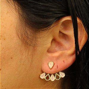 Brinco Ear Jacket gota zircônia quartzo rosa leitoso