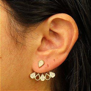 Brinco Ear Jacket gota zircônia cristal leitoso