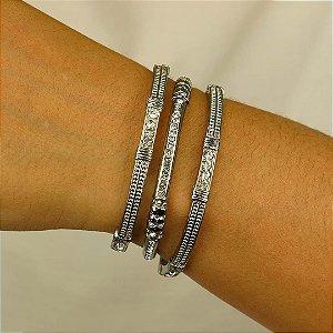 Trio de pulseiras em cristal austríaco cristal