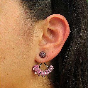Brinco Ear Jacket cravejado em micro zircônia Rubi