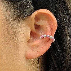 Piercing feminino de pérolas rosas semijoia