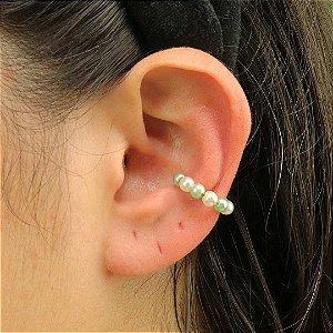 Piercing feminino de pérolas verdes ouro 18k