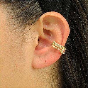 Piercing ajustável com zircônia oval banho ouro