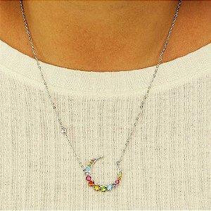 Colar arco-íris cravejado em zircônia colorida