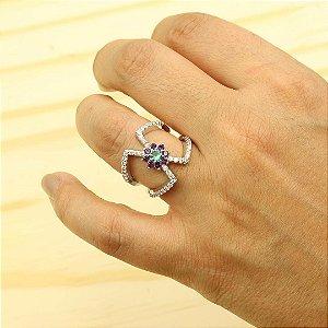 Anel luxo cravejado em zircônia Cristal e Turmalina