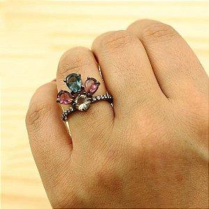 Anel de flor frontal cravejado zircônia Colorida