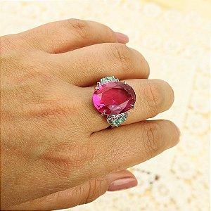 Anel formato oval zircônia Pink banhado em ródio