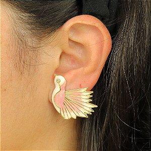Brinco Beija Flor Rosa com esmaltação feito à mão
