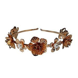 Tiara para cabelo flor em metal com pérola