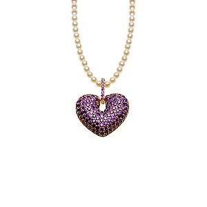 Colar de coração zircônia Ultra violeta e pérolas