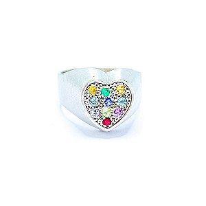 Anel Rainbow Heart