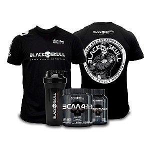 Combo BCAA 4:1:1+ Thermo Flame + Coqueteleira + Camiseta Black Skull