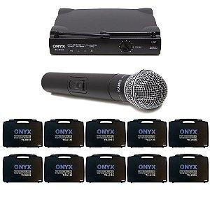 Kit 10 Microfones sem Fio TK-U120 UHF Onyx