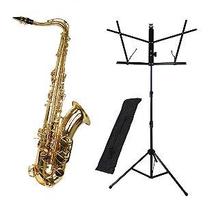 Kit Saxofone Tenor TS-200 Laqueado New York + Estante de Partitura S1