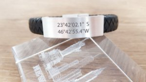 Pulseira Couro trançado 1cm (10mm) - Localização Geográfica