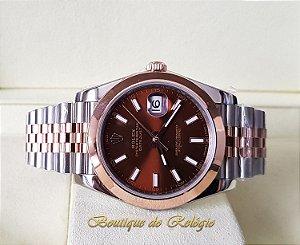 60ba25428c0 Rolex Datejust Brown Misto Noob Best Edition Ouro 18K