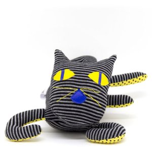 Gato listrado preto e cinza