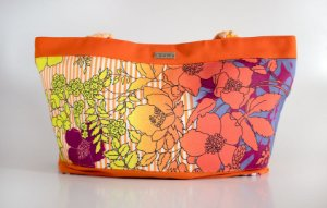 Shopping bag floral laranja