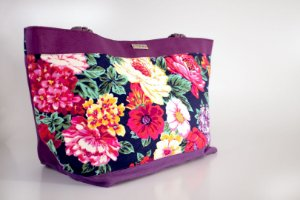 Shopping bag floral roxa