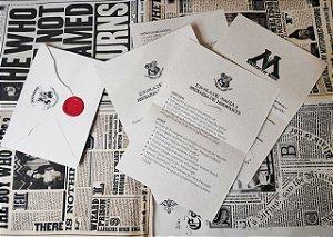 Carta de Aceitação de Hogwarts - Com Selo do Brasão Hogwarts