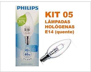 Kit 05 Lâmpadas Halogenas Vela 42w E14 220 V Philips