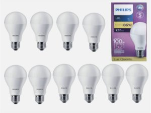 Kit 10 LED Bulb 13.5W (100W) E27 3000K (Quente) A67 100 -240 V PHILIPS