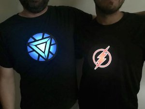 Kit Casal Camiseta Led - Fantasia de casal de LED