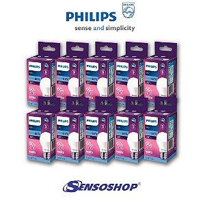 Kit 10 Lâmpadas Led Bulbo Philips 8w = 60w Branco Fria 6500K 806lm Bivolt Casa