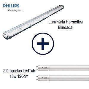 Kit Luminária Hermética Blindada + 2 Lâmpadas 18w Tubular Philips