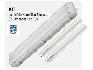 Kit Luminária Hermética Blindada + 2 Lâmpadas Tubular Philips