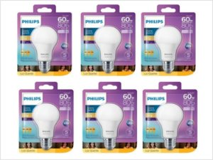 Kit 6 Lâmpadas Led Bulbo 9w Dimerizável Philips 3000k Quente